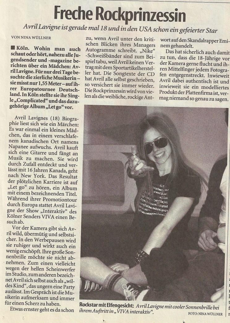 Avril Lavigne bei ihrem ersten Besuch in Deutschland bei VIVA in Köln.
